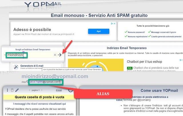 indirizzo email usa e getta su Yopmail