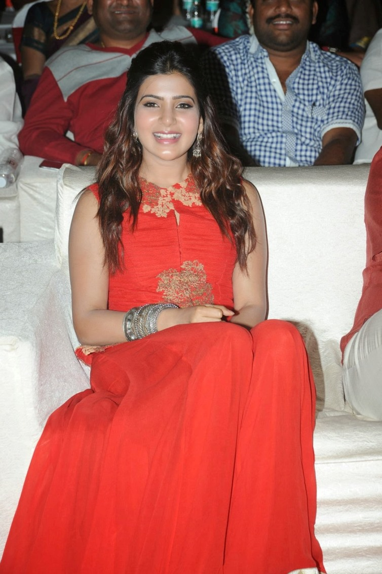 Film Actress Samantha Hot In Orange Dress At Audio Function