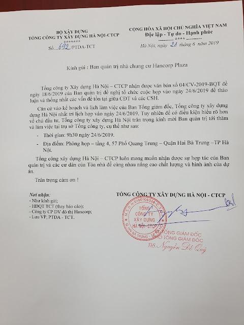 Công văn 692/PTDA-TCT của Tổng Công ty xây dựng Hà Nội gửi BQT về thống nhất lịch họp trực tiếp
