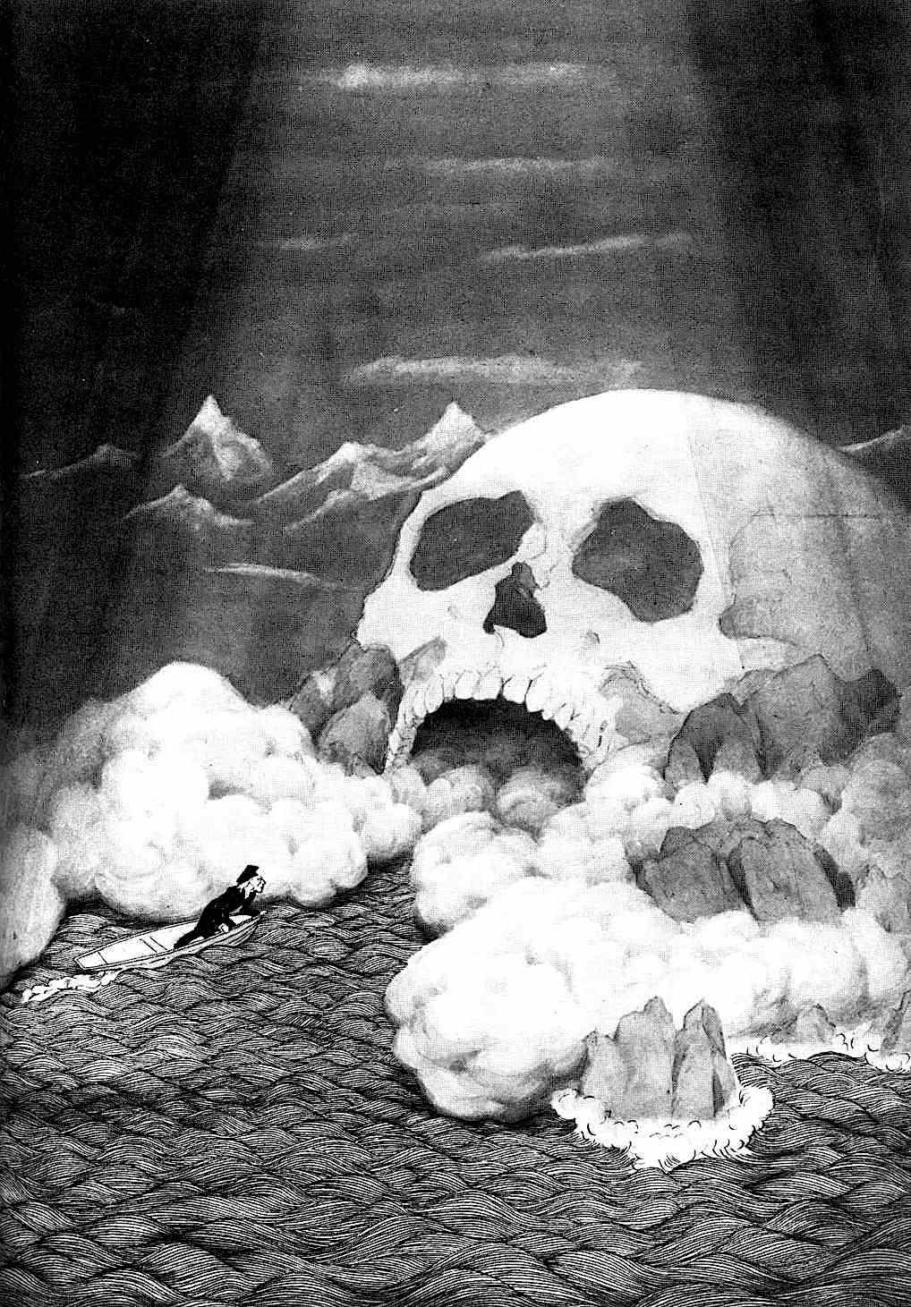 Sidney Sime illustration of a giant skull