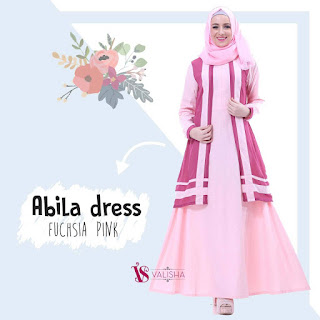 Gamis Valisha Abila Dress Fuchsia Pink