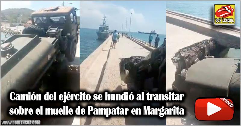 Camión del ejército se hundió al transitar sobre el muelle de Pampatar en Margarita