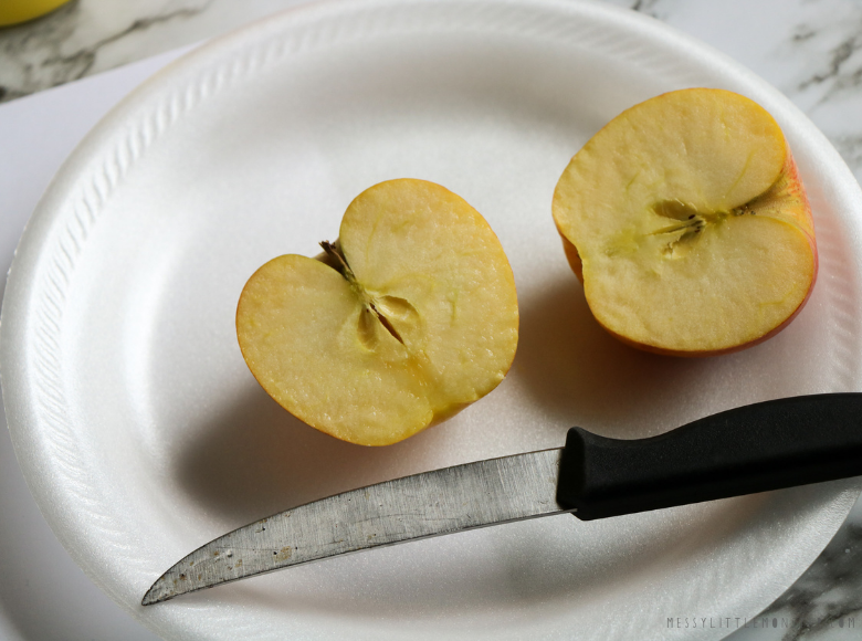 Cutting apples for apple stamping