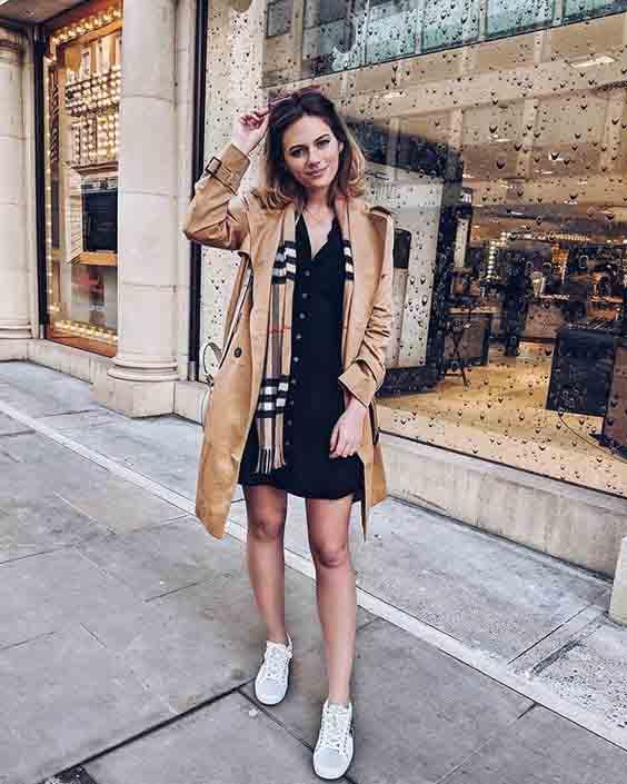 Trench coat feminino e vestido