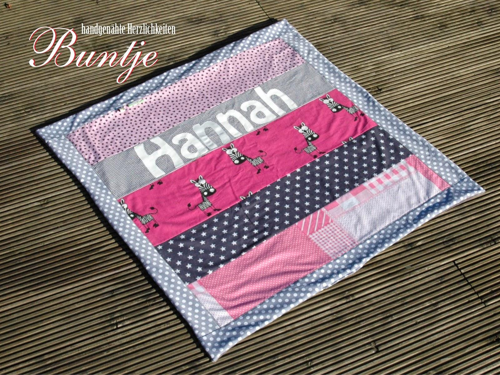 Krabbeldecke Kuscheldecke Decke Baby Name Geschenk Geburt Taufe Mädchen rosa pink Zebra Dschungel Fleece Baumwolle Hannah Buntje nähen