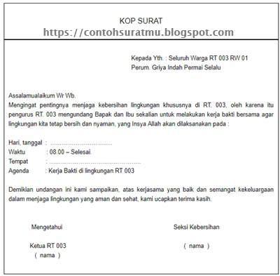 4 Contoh Surat Undangan Kerja Bakti Rt Gudang Contoh Surat