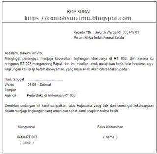 4 Contoh Surat Undangan Kerja Bakti Rt