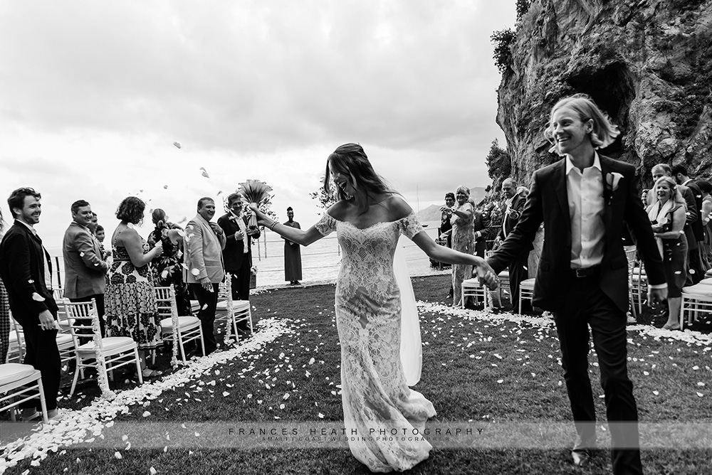 Bride and groom confetti recessional