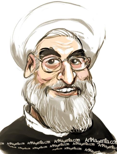 Hassan Rohani caricature cartoon. Portrait drawing by caricaturist Artmagenta