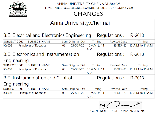 Anna University MCQ Exam Time Table New Changes