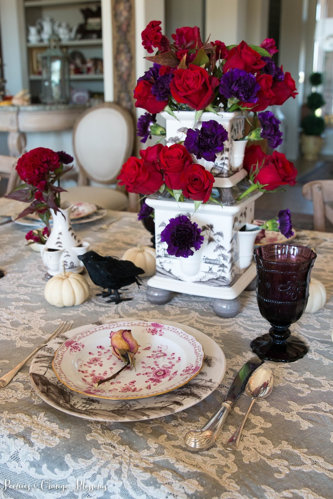 French gothic Halloween table decor inspired by the Phantom of the Opera