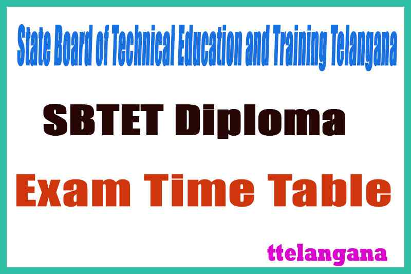 TS SBTET Diploma Exam Time Table