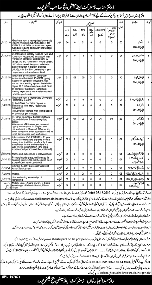 District And Session Court Sheikhupura Jobs 2019