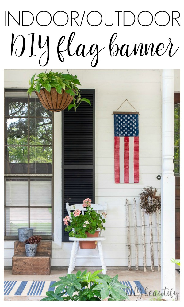 farmhouse front porch with patriotic banner