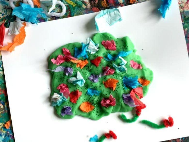 Spring crafts for kids - flower garden playdough activity