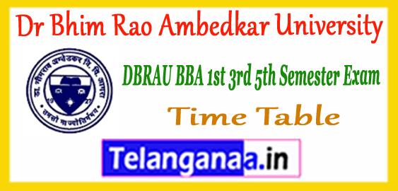 DBRAU Dr Bhim Rao Ambedkar University BBA 1st 3rd 5th Semester Time Table 2017-18 Admit Card Result