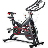 Merax S306 spin bike in black/red, image