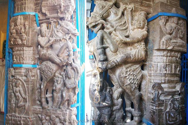 Sriperumbudur Ramanujar Temple Horse Pillar Relief Sculptures