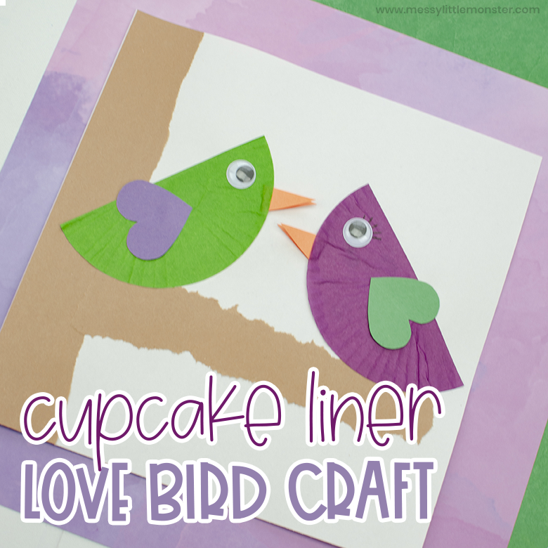 cupcake liner love bird craft