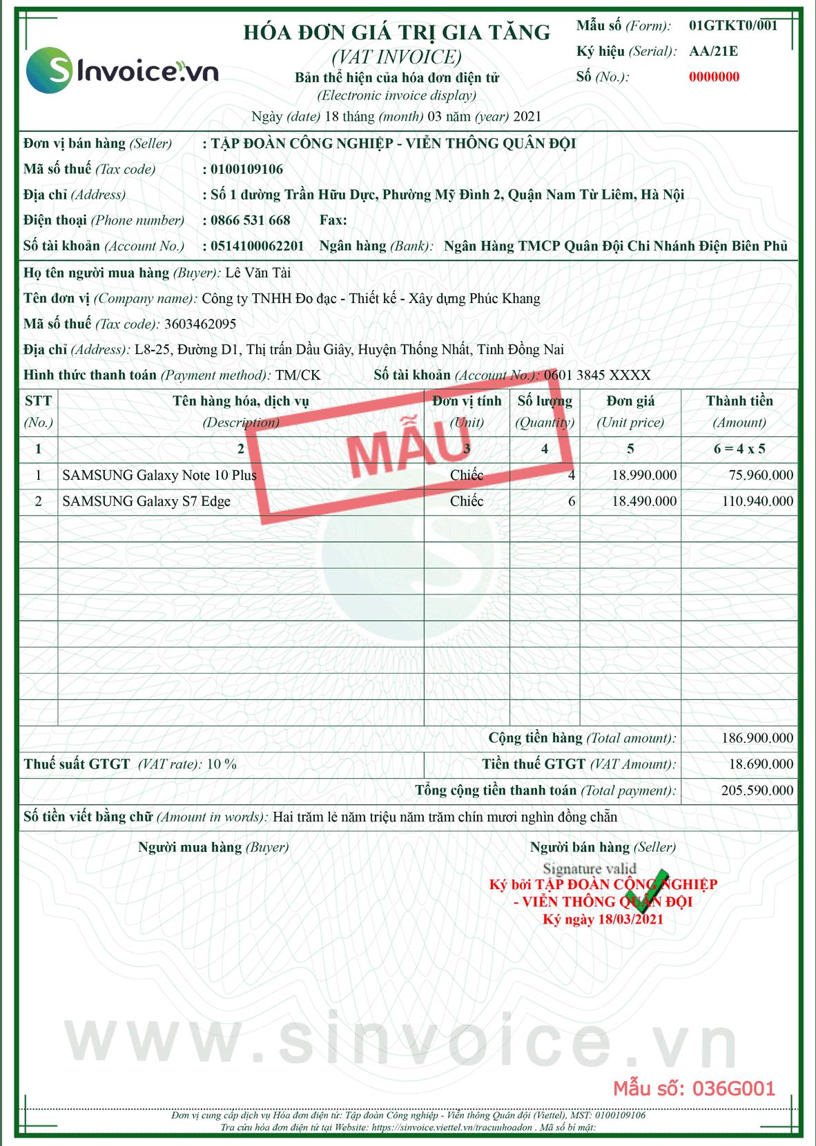 Mẫu hóa đơn điện tử số 036G001
