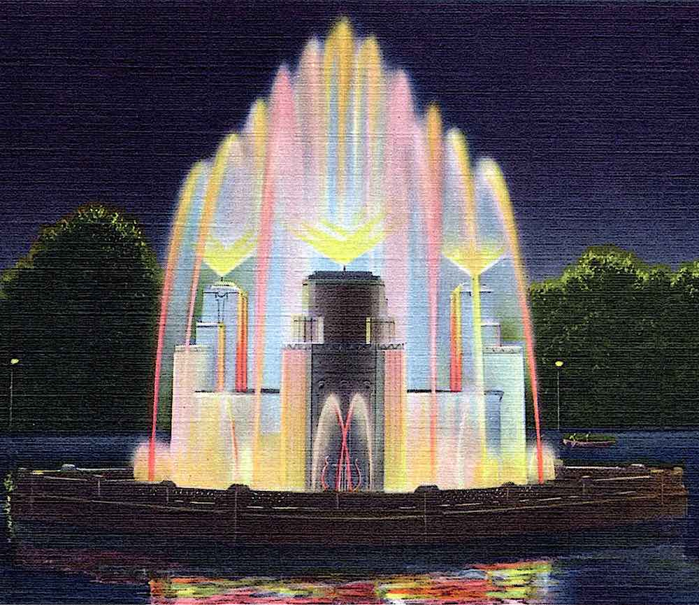 a fountain with lighting 1940