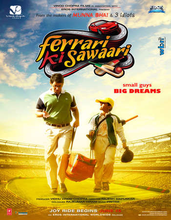 Poster Of Ferrari Ki Sawaari 2012 Hindi 600MB HDRip 720p ESubs HEVC Watch Online Free Download downloadhub.in
