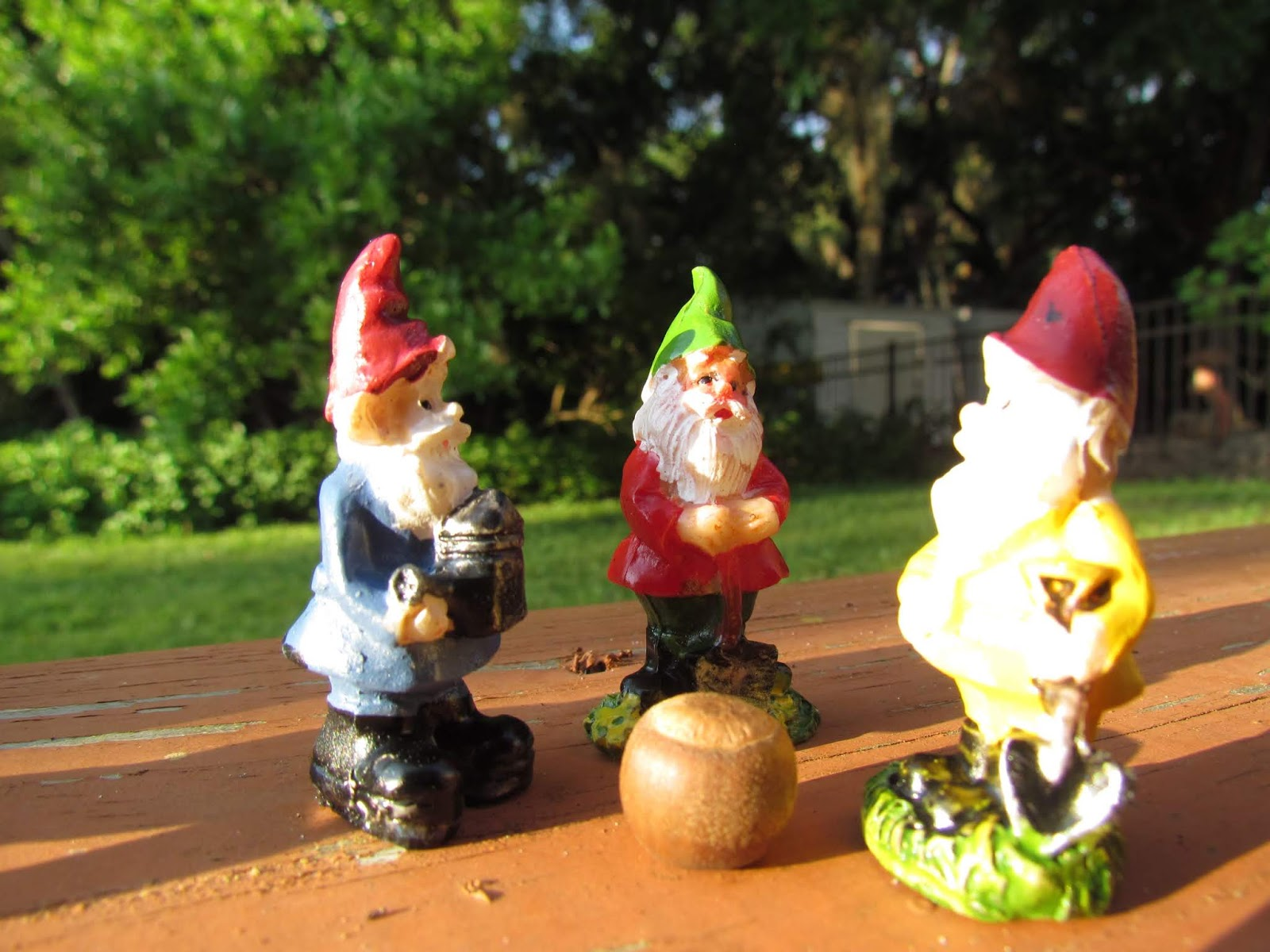 Natural Acorn on Wooden Porch With a Group of Gnome Figurines Having a Woodland Gathering and a Forest Feast