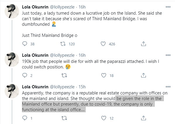 Twitter Stories: Lady turns down N190k job in Lagos because she's scared of Third Mainland Bridge
