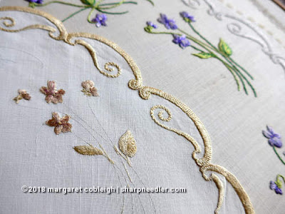 Society Silk Violets: Another comparison of the authentic version of the violets with the newly stitched version
