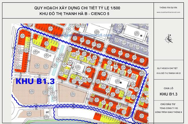 vị trí chung cư B1.3 Thanh hà Mường Thanh