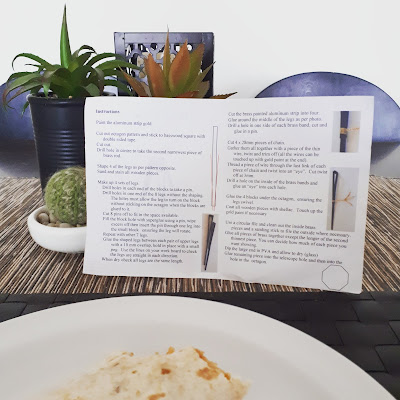 Burrito on a plate. Behind the plate is a set of instructions propped up by several fake succulents (including a knitted cacti: that no one will probably notice unless they read the alt text!)