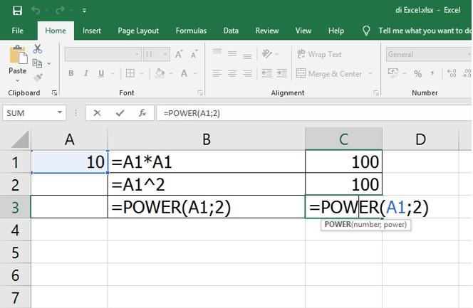 Cara Mengkuadratkan di Excel Menggunakan Rumus dan Fungsi
