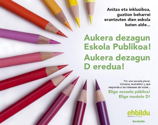 EH Bildu anima a matricular en el modelo D y en la escuela pública