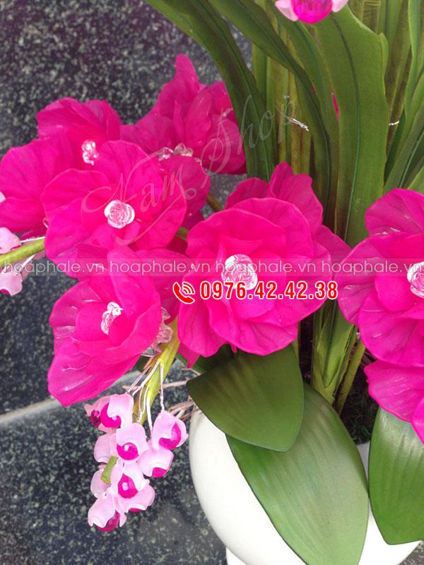 Mẫu hoa lan 2 tầng hồng trắng - Hoa pha lê