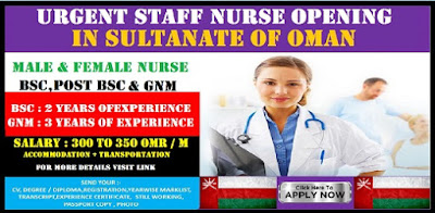 URGENT STAFF NURSE OPENING IN OMAN  (Male Nurse & Female Nurse)
