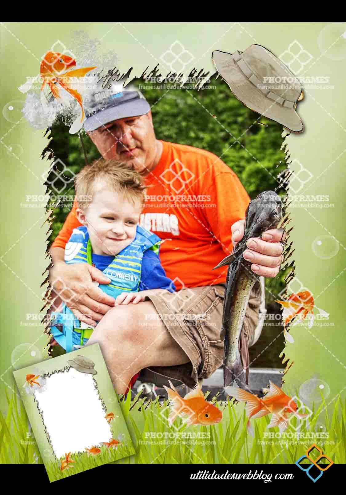 Marco para fotos del día del padre y abuelo pescador