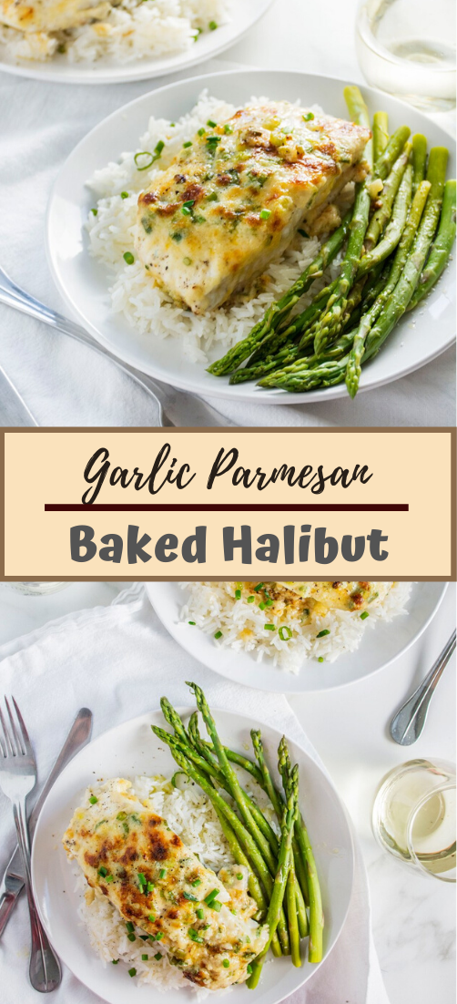 Garlic Parmesan Baked Halibut #healthyfood #dietketo #breakfast #food