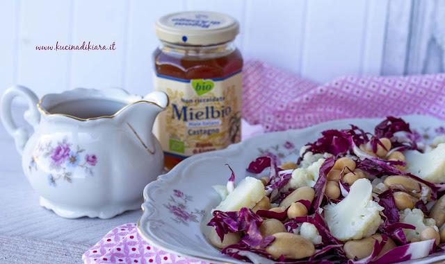 Radicchio, cavolfiore e legumi con emulsione al miele