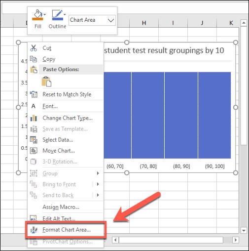 لإجراء تغييرات تجميلية على الرسم البياني لـ Excel ، انقر بزر الماوس الأيمن واضغط على الزر تنسيق منطقة التخطيط