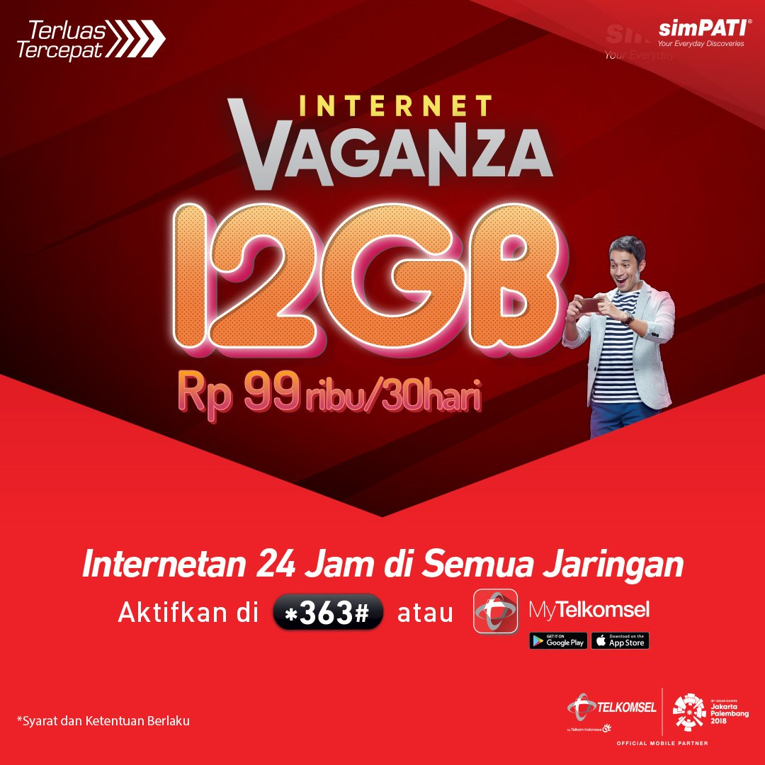 Telkomsel - Promo Simpati Internet Vaganza 12 GB Cuma 99 Ribu / 30 Hari