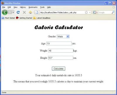 Membuat Kalkulator Kalori dengan Menggunakan PHP