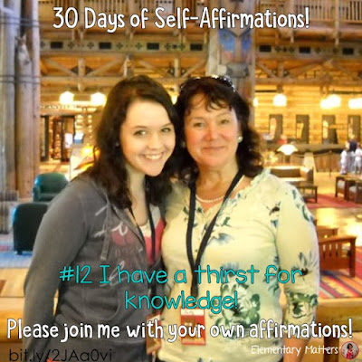 "30 Days of Self-Affirmations: Day 12: I have a thirst for knowledge. For 30 days, I will be celebrating my own ""new year"" with self-affirmations. If you are interested in joining me, feel free to  write your own affirmations here, or  respond on my social media here: https://linktr.ee/elementarymatters"