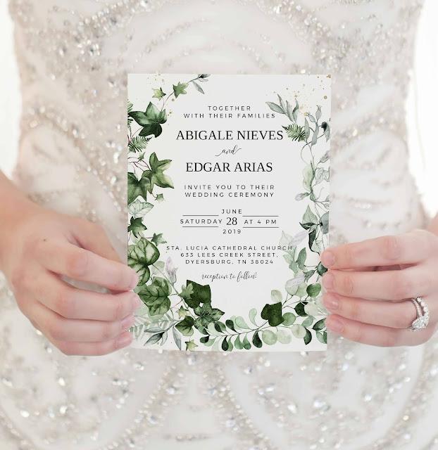 ivy greenery wedding invitation