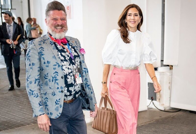 Crown Princess Mary wore flou pleated wide-leg pants by 3.1 Phillip Lim, and wore a dalia shirt by Britt Sisseck