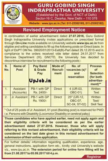 ip Indraprastha university recruitment 2017 posts 29