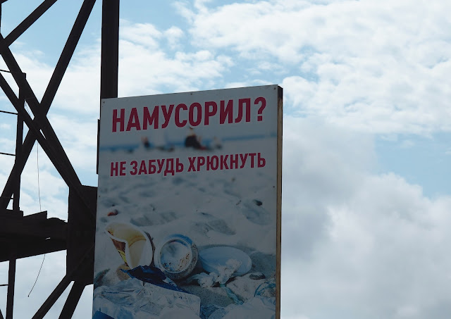 Владивосток, остров Русский, мыс Тобизина - плакат про мусор
