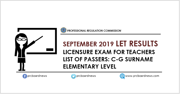 LIST: C-G Passers September 2019 LET Results Elementary