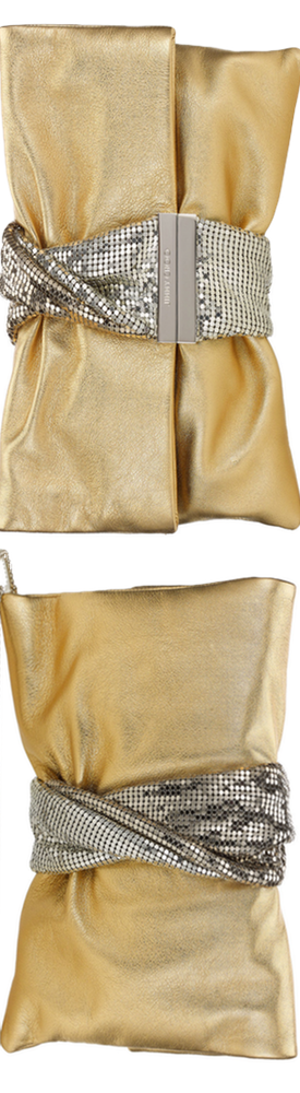 Jimmy Choo Chandra Gold Metallic Leather Clutch Bag with Chainmail Bracele