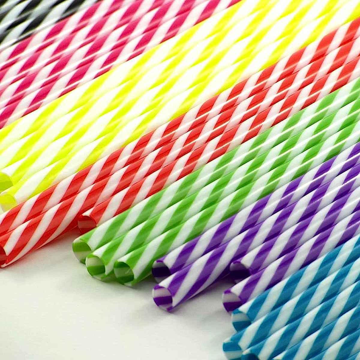striped plastic drinking straws