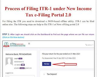 Process of Filing ITR-1 under New Income Tax e-Filing Portal 2.0